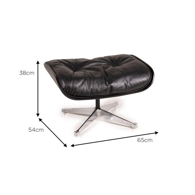 Modern Vitra Eameas lounge leather armchair black including ottoman For Sale