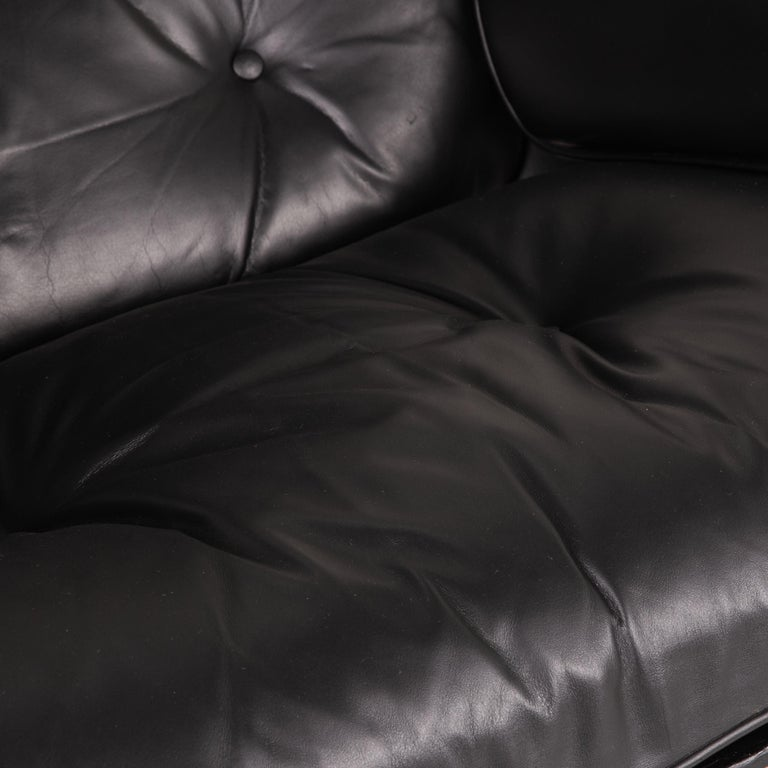 German Vitra Eameas lounge leather armchair black including ottoman For Sale