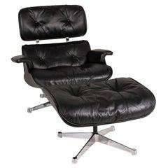 Vitra Eameas lounge leather armchair black including ottoman