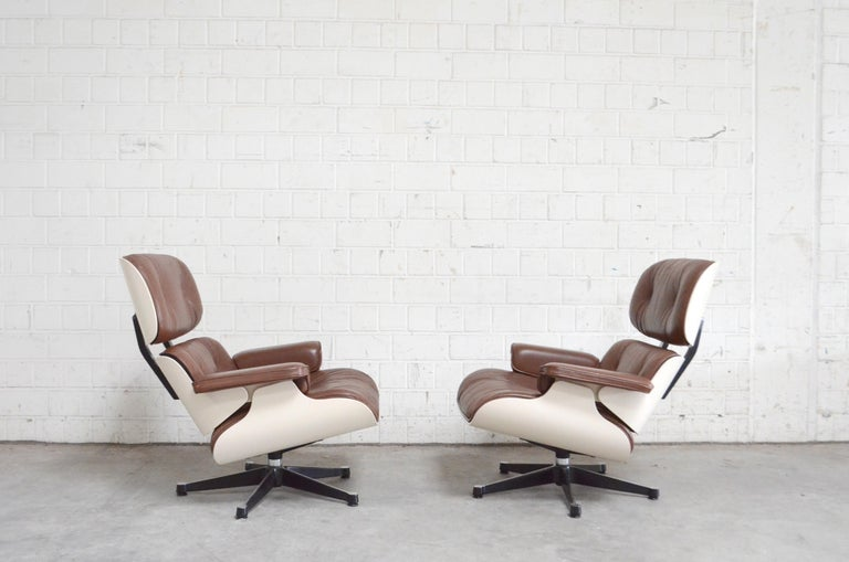 Mid-Century Modern Vitra Eames Lounge Chair Cognac Brown and White Shell, Set of 2 For Sale