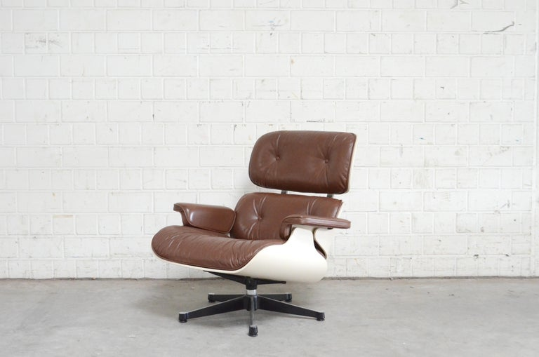 German Vitra Eames Lounge Chair Cognac Brown and White Shell, Set of 2 For Sale