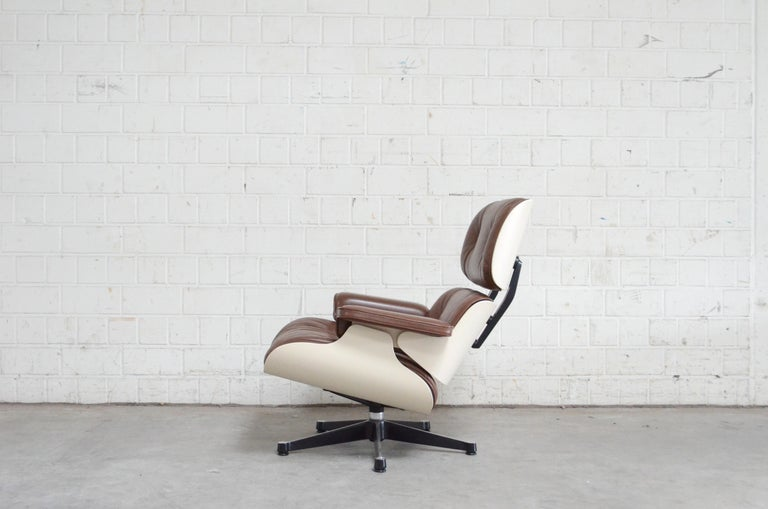 20th Century Vitra Eames Lounge Chair Cognac Brown and White Shell, Set of 2 For Sale