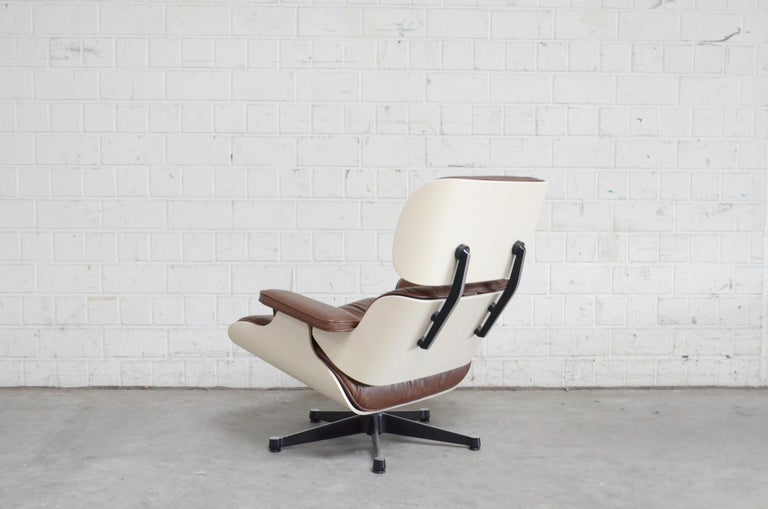Aluminum Vitra Eames Lounge Chair Cognac Brown and White Shell, Set of 2 For Sale