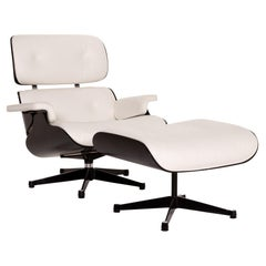 Vitra Eames Lounge Chair Incl. Ottoman Leather Armchair White