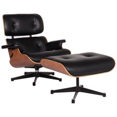 Vitra Eames Lounge Chair Incl. Stool Ottoman Leather Armchair Black Ray &