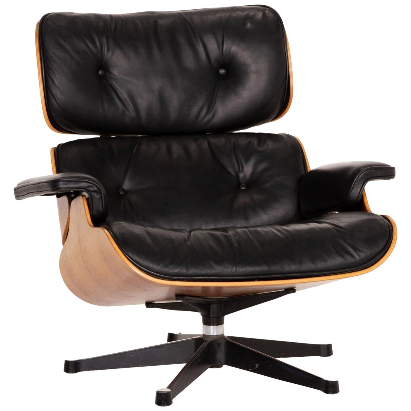 Vitra Eames Lounge Chair Leather Armchair Black Wood