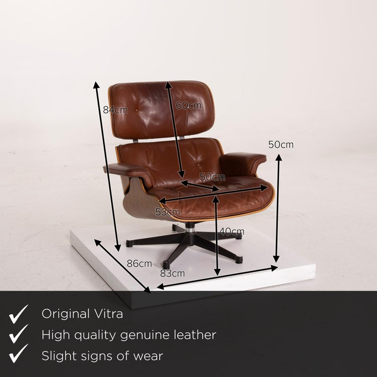 We present to you a Vitra Eames lounge chair leather armchair cognac.      Product measurements in centimeters:    Depth 86 Width 83 Height 84 Seat height 40 Rest height 50 Seat depth 50 Seat width 53 Back height 60.
