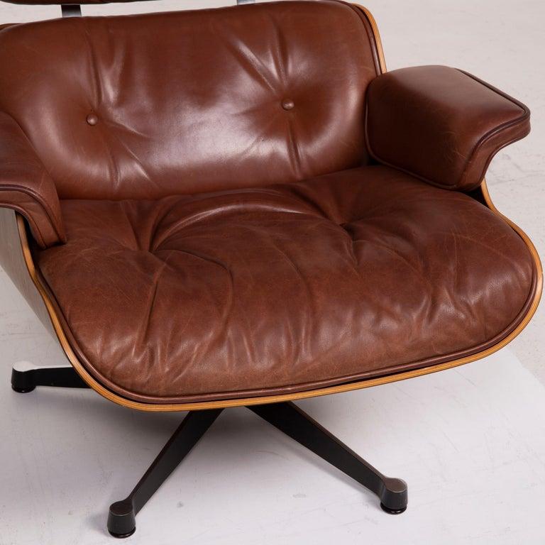 Modern Vitra Eames Lounge Chair Leather Armchair Cognac