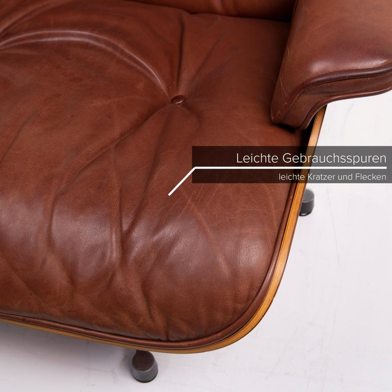 German Vitra Eames Lounge Chair Leather Armchair Cognac