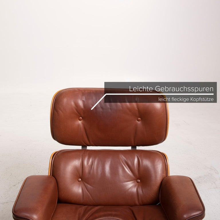 Vitra Eames Lounge Chair Leather Armchair Cognac In Good Condition In Cologne, DE