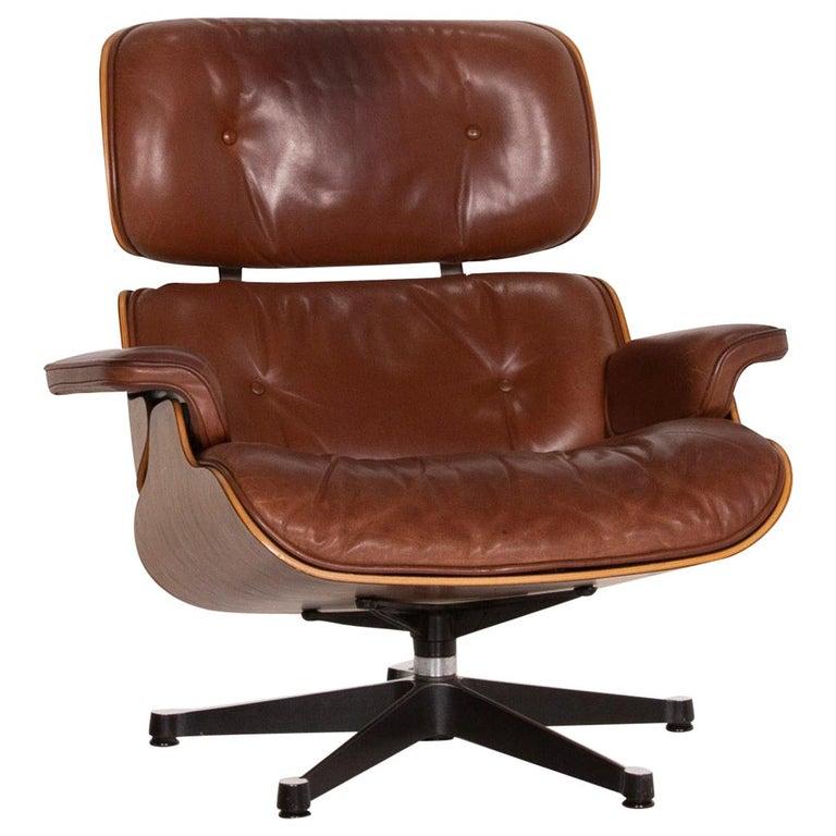 Vitra Eames Lounge Chair Leather Armchair Cognac