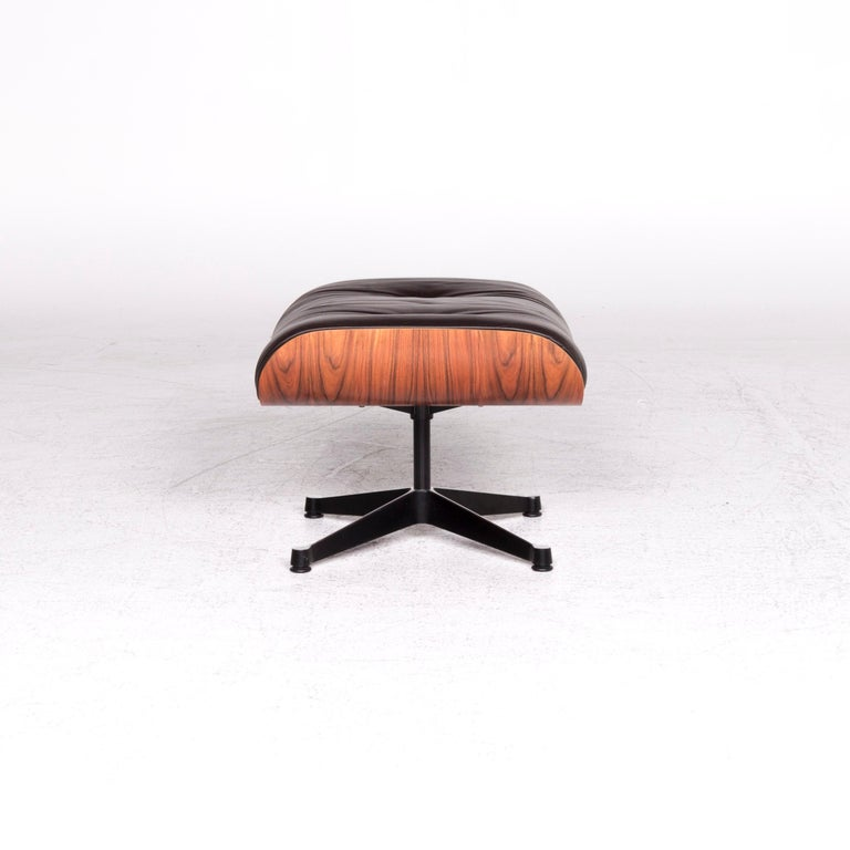 Vitra Eames Lounge Chair Leather Stool Brown Charles & Ray Eames Chair For Sale 4