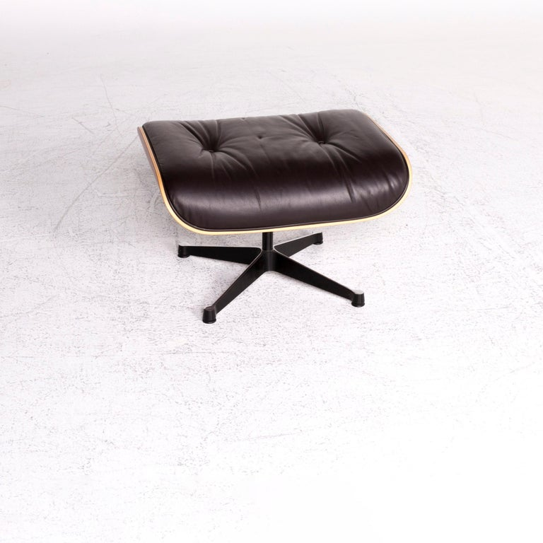 Modern Vitra Eames Lounge Chair Leather Stool Brown Charles & Ray Eames Chair For Sale