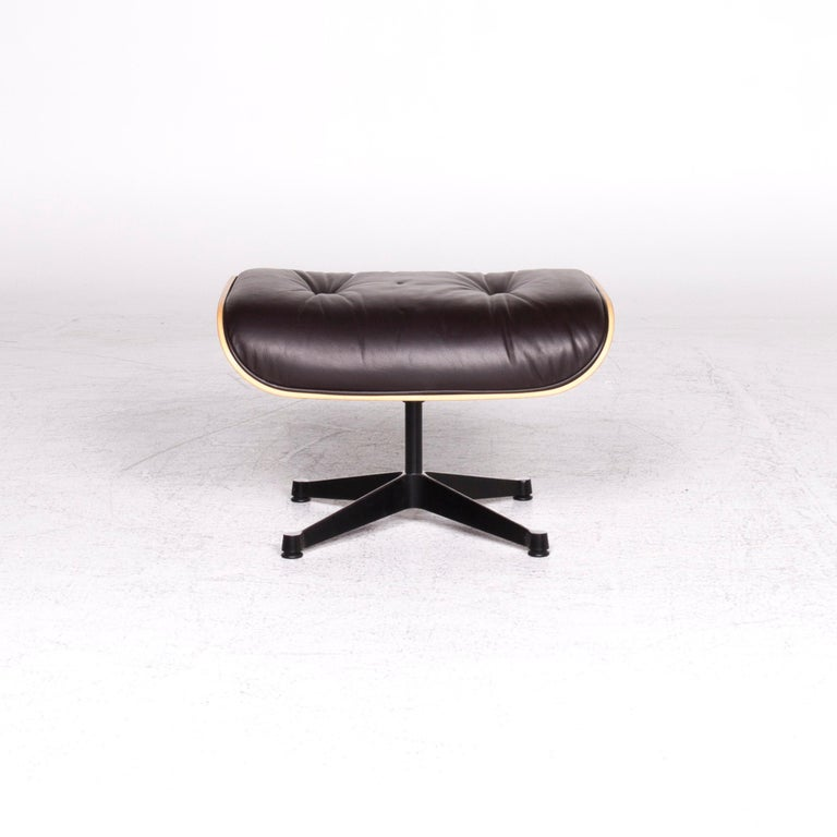 German Vitra Eames Lounge Chair Leather Stool Brown Charles & Ray Eames Chair For Sale