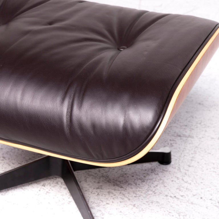 Contemporary Vitra Eames Lounge Chair Leather Stool Brown Charles & Ray Eames Chair For Sale