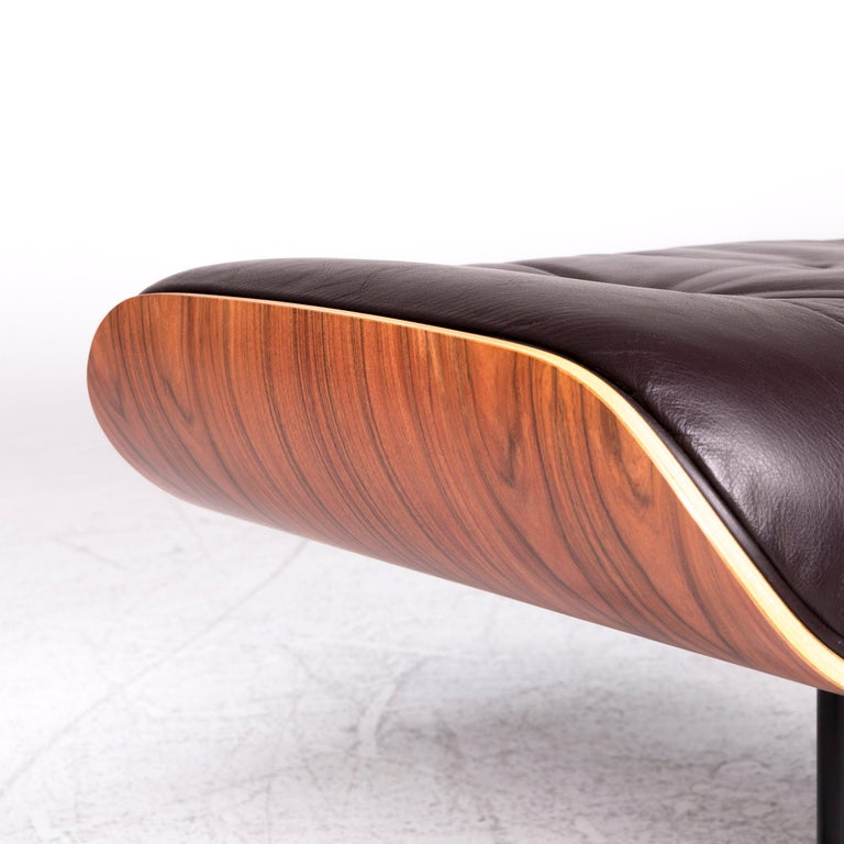 Vitra Eames Lounge Chair Leather Stool Brown Charles & Ray Eames Chair For Sale 2