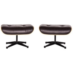 Vitra Eames Lounge Chair Leather Stool Set Brown Charles & Ray Eames Chair