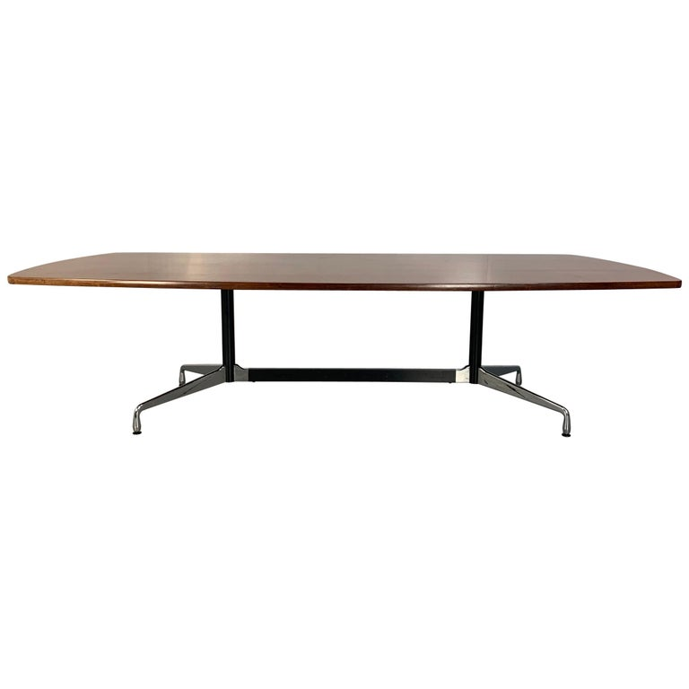"""Vitra Eames """"Segmented Base"""" """"Boat"""" Table in Brazilian Rosewood For Sale"""