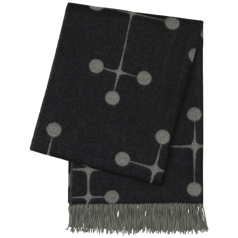Vitra Eames Wool Blanket in Black and Gray by Charles & Ray Eames For Sale