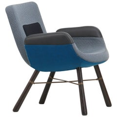Vitra East River Chair in Blue Combo Fabric with Dark Oak Legs by Hella Jongeriu