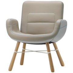 Vitra East River Chair in Cool Mix Leather with Oak Legs by Hella Jongerius