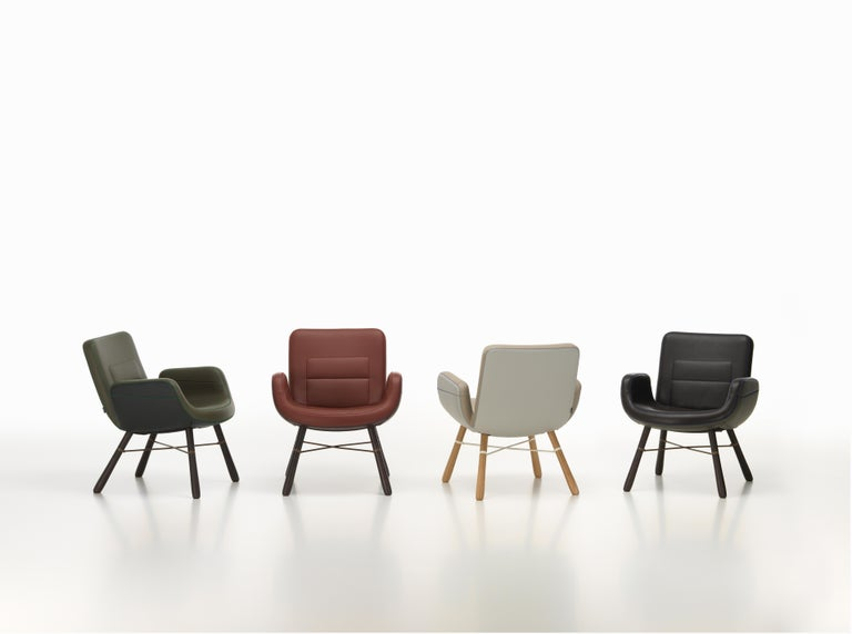 Modern Vitra East River Chair in Dark Mix Leather with Dark Oak Legs by Hella Jongerius For Sale