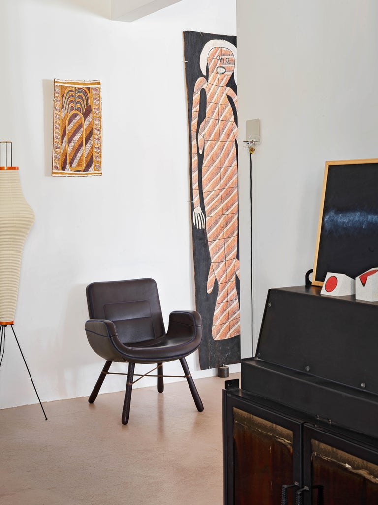 Swiss Vitra East River Chair in Dark Mix Leather with Dark Oak Legs by Hella Jongerius For Sale