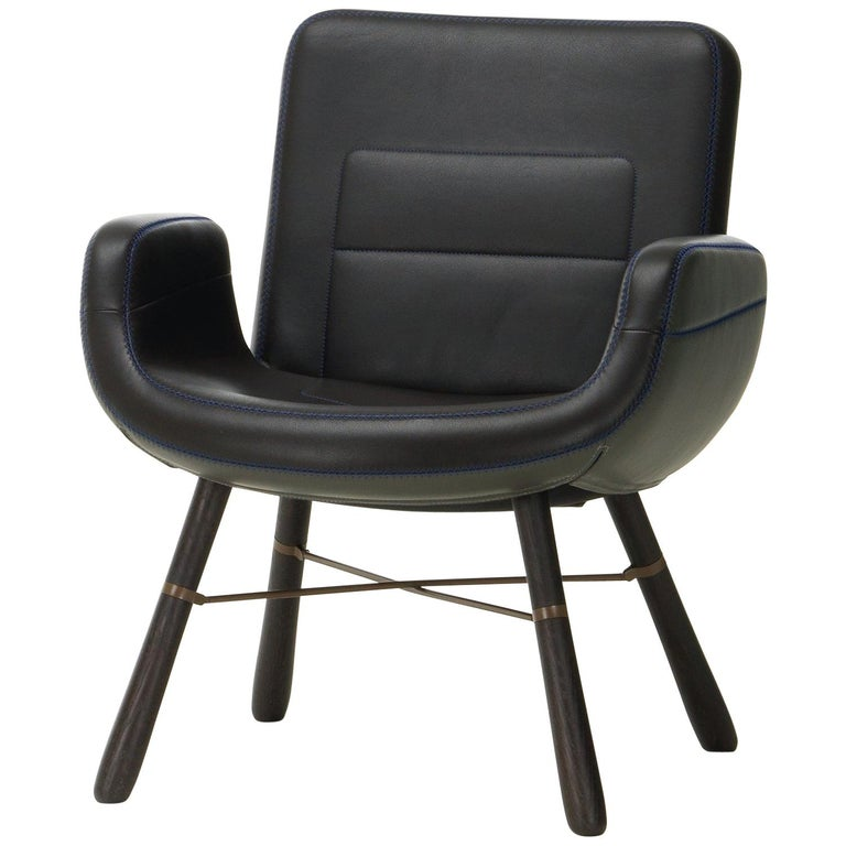 Vitra East River Chair in Dark Mix Leather with Dark Oak Legs by Hella Jongerius For Sale