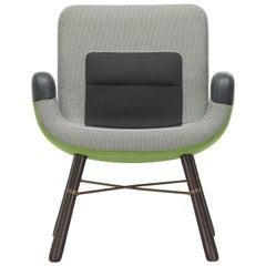 Vitra East River Chair in Green Fabric with Dark Oak Legs by Hella Jongerius