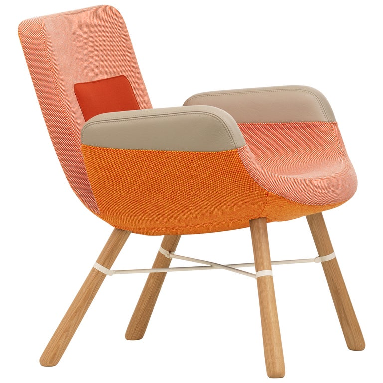 Vitra East River Chair in Red Combo Fabric with Oak Legs by Hella Jongerius For Sale