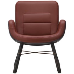 Vitra East River Chair in Warm Mix Leather with Dark Oak Legs by Hella Jongerius