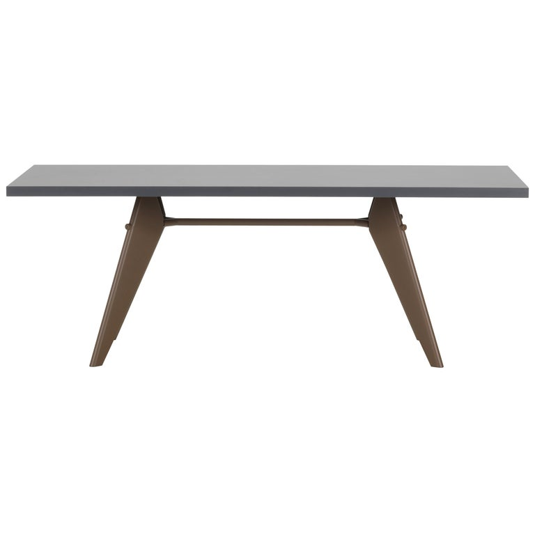 Vitra Em Table In Asphalt Hpl And Coffee By Jean Prouve For Sale At