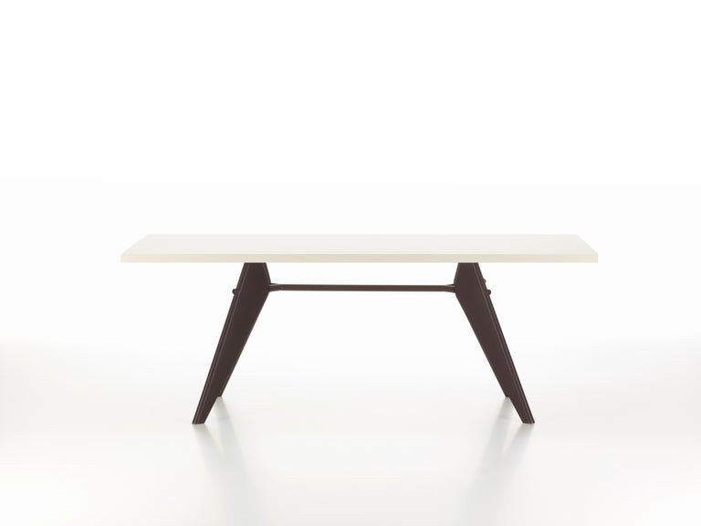 These items are currently only available in the United States.  The aesthetic appearance of Jean Prouvé's EM table adheres to structural principles, illustrating the flow of forces and stresses in its construction. It comes in a range of sizes with