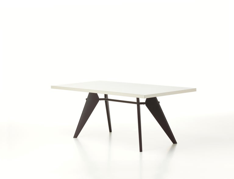 Modern Vitra EM Table in Ivory HPL and Deep Black by Jean Prouvé For Sale
