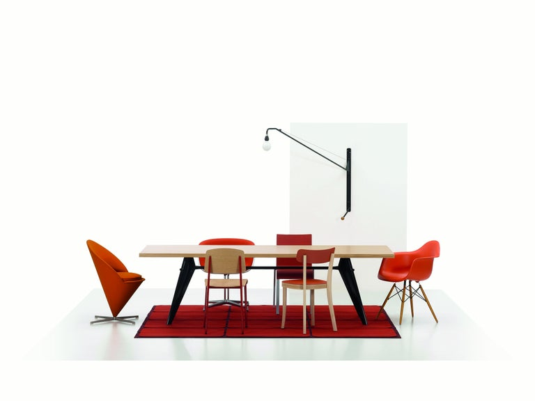 Powder-Coated Vitra EM Table in Ivory HPL and Deep Black by Jean Prouvé For Sale