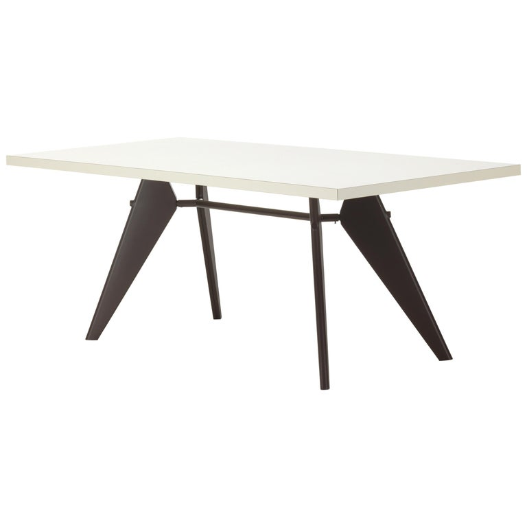 Vitra EM Table in Ivory HPL and Deep Black by Jean Prouvé For Sale