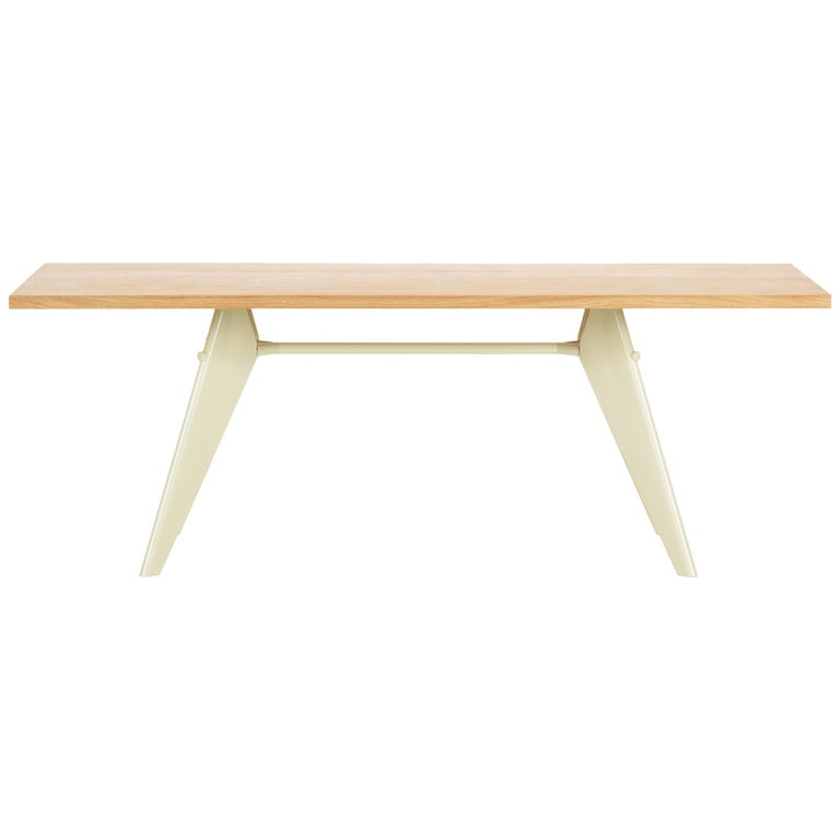 Vitra Em Table In Solid Natural Oak And Ecru By Jean Prouve For Sale