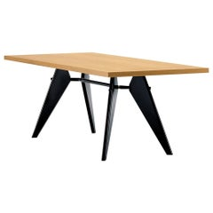 Vitra Em Table in Solid Natural Oak and Deep Black by Jean Prouvé