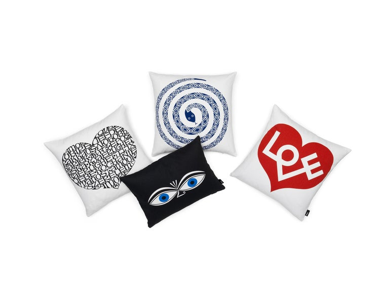 Modern Vitra Embroidered Double Heart Pillow by Alexander Girard  For Sale