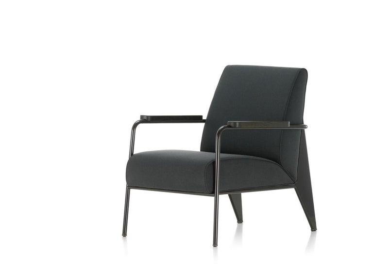 Swiss Vitra Fauteuil De Salon Armchair in Black by Jean Prouvé For Sale