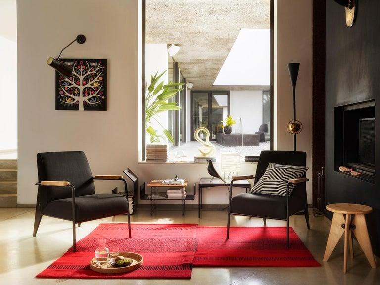 Swiss Vitra Fauteuil de Salon Armchair in Cognac with Ecru Base by Jean Prouvé For Sale