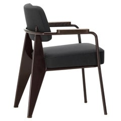 Vitra Fauteuil Direction in Dark Gray and Chocolate by Jean Prouvé