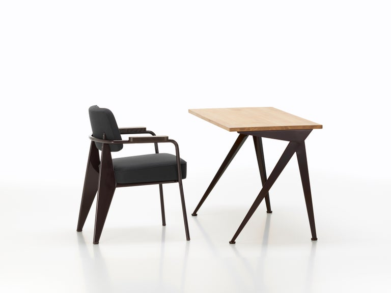Modern Vitra Feuteuil Direction in Dark Gray and Chocolate by Jean Prouvé For Sale