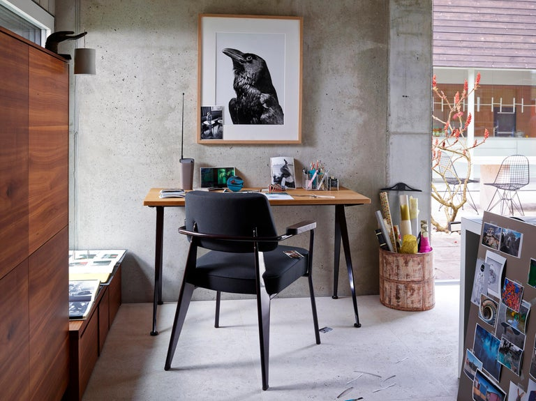 Swiss Vitra Feuteuil Direction in Dark Gray and Chocolate by Jean Prouvé For Sale