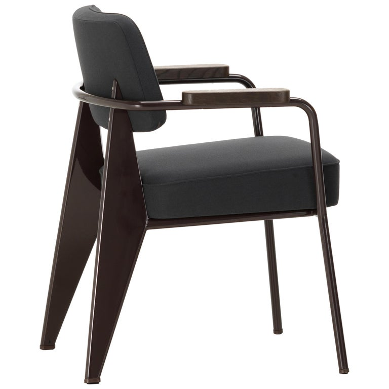 Vitra Feuteuil Direction in Dark Gray and Chocolate by Jean Prouvé For Sale