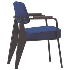 Vitra Fauteuil Direction in Ink Blue & Chocolate by Jean Prouvé