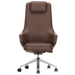 Vitra Grand Executive Highback Chair in Marron Leather by Antonio Citterio