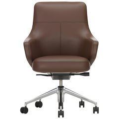 Vitra Grand Executive Lowback Chair in Maroon Leather by Antonio Citterio