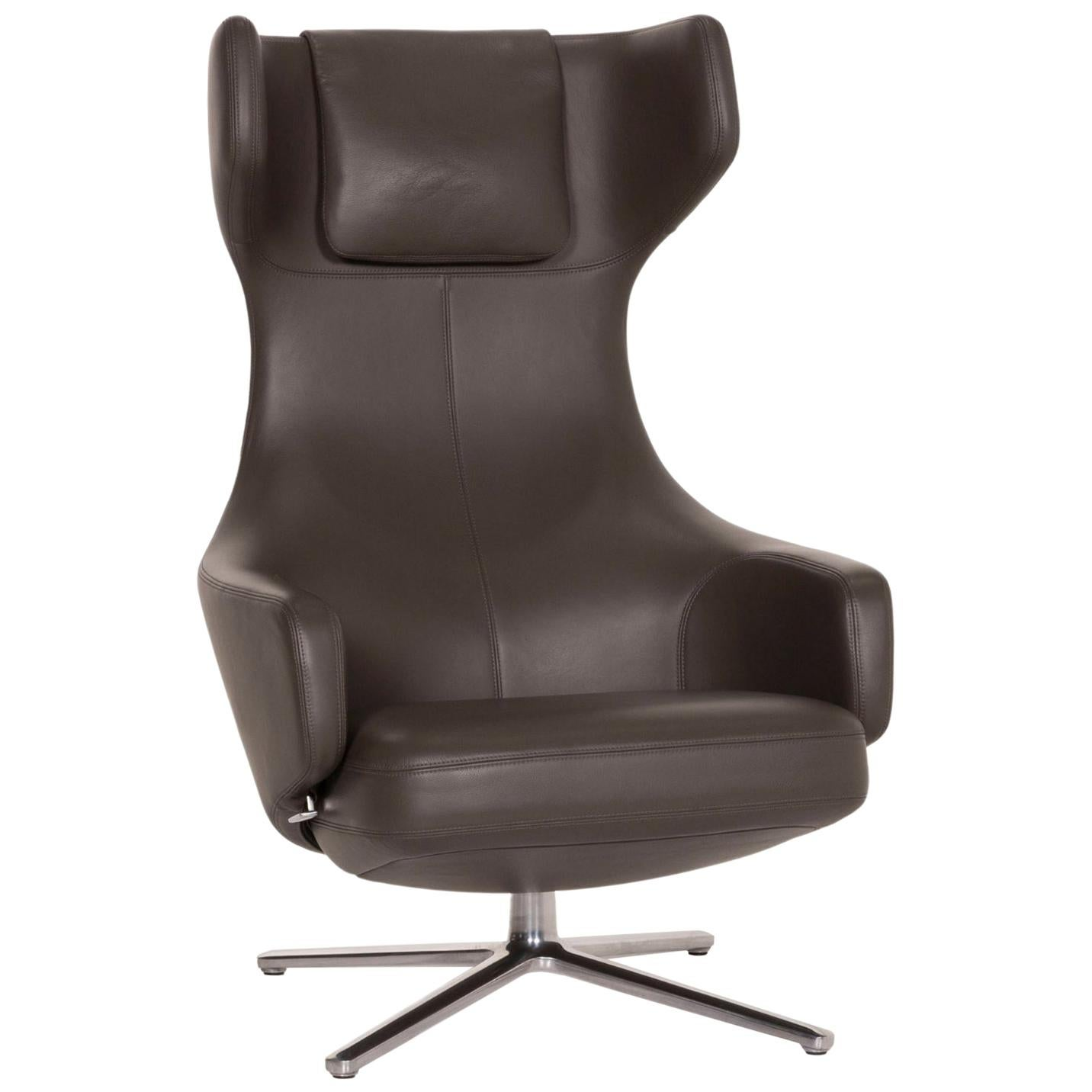 Vitra Grand Repos Leather Armchair Gray Dark Gray Function Wing Chair
