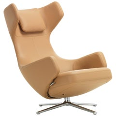 Vitra Grand Repos Lounge Chair in Cashew Leather Premium by Antonio Citterio